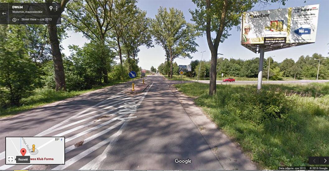 Miejsce wypadku. Google Maps.