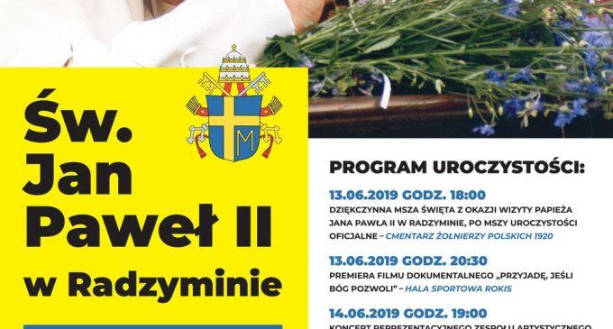 20. rocznica wizyty św. Jana Pawła II w Radzyminie – uroczystości w dniach 13-16 czerwca 2019 r.