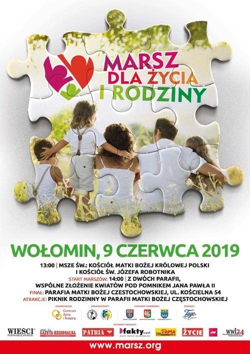 Plakat marszu dla życia i rodziny. Wołomin 2019